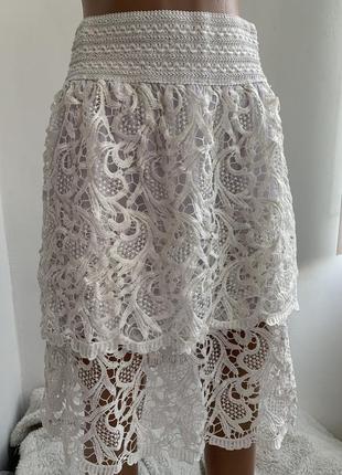 Красивая белая кружевная юбка из плотного ажура сша с/м/л