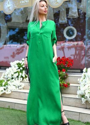 Длинное летнее льняное зеленое платье под пояс