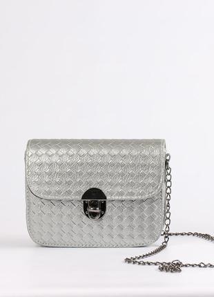 Красивая маленькая сумочка, клатч -серебро2 фото