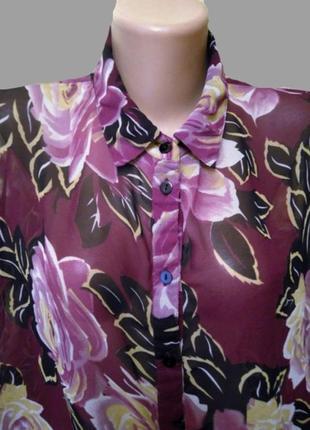 Шикарная шифоновая блуза asos в цветы, большой размер8 фото