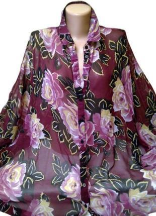 Шикарная шифоновая блуза asos в цветы, большой размер2 фото