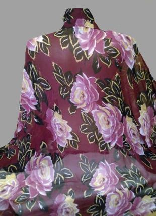Шикарная шифоновая блуза asos в цветы, большой размер4 фото