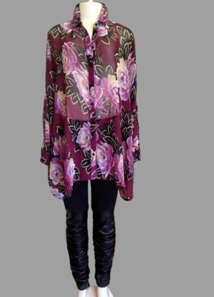 Шикарная шифоновая блуза asos в цветы, большой размер7 фото