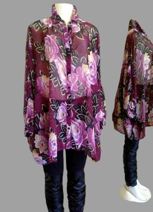 Шикарная шифоновая блуза asos в цветы, большой размер3 фото