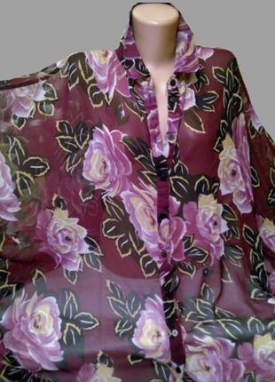 Шикарная шифоновая блуза asos в цветы, большой размер