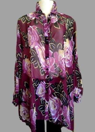 Шикарная шифоновая блуза asos в цветы, большой размер9 фото