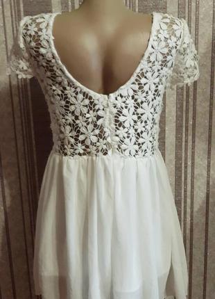 Белвй сарафан, платье, кружево и шифон, можно как свадебное!