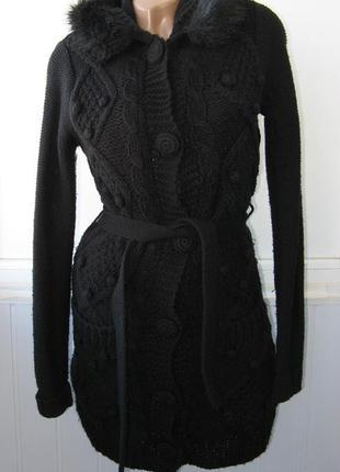 Кардиган пальто, вязаный, на подкладке синтепон, пояс, карманы, капюшон с мехом иск.