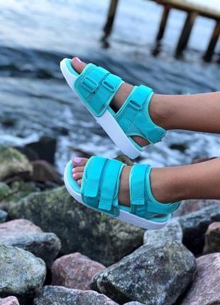 Красивые женские сандалии adidas в бирюзовом цвете (весна-лето-осень)😍