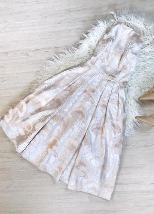 Жаккардовое платье барби миди пудровое выпускное коктейльное нарядное