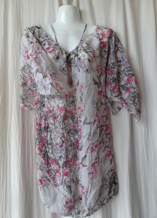 Летняя полупрозрачная блузка  rare styled in italy шелк натуральный шифон