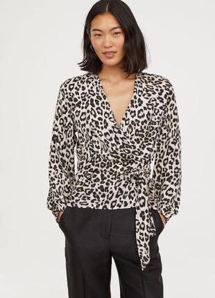 Рубашка блуза в анималистический принт на запах в леопардовый принт h&m p.40-42