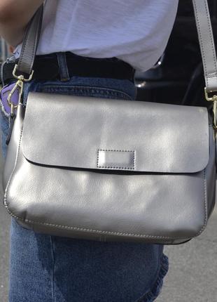 Стильная сумка из натуральной кожи, ручка+цепочка (серебро)