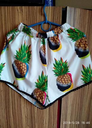 Домашние/пижамные шорты в ананасы 🍍 songuang,размер s/m