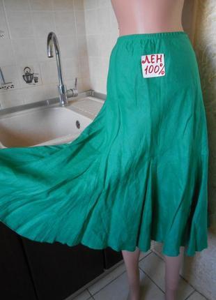 #tu#льняная юбка зеленая #расклешенная #большой размер 16 #