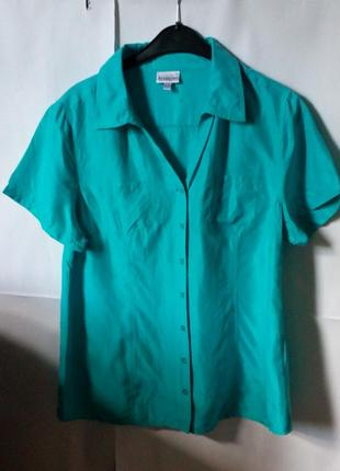 100% шелк! летняя блуза цвет бирюза!