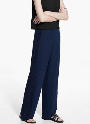 Синие летние легкие свободные брюки mango