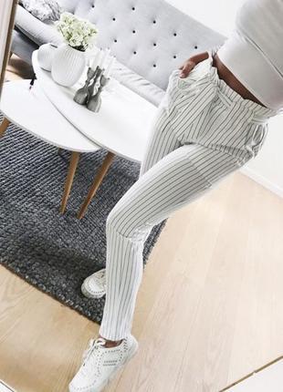 Штаны пейпер бэг бело-черные в полосочку