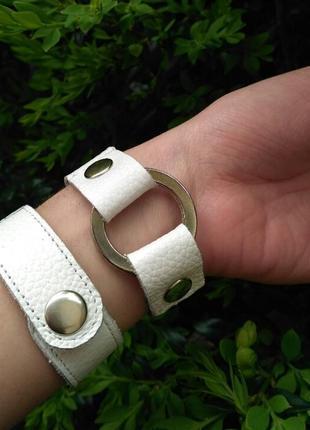 Женский браслет на руку, из кожи, белый