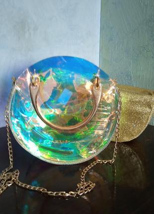 Маленькая женская круглая прозрачная сумка hologram