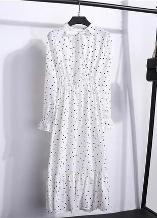 Белое платье в горох