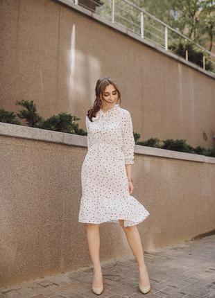 Белое платье в горох3 фото