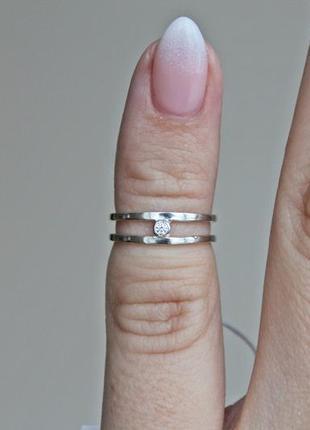Серебряное кольцо кристи фаланговое (р.13,5)