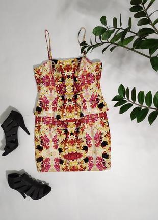 ❤️ коттоновое яркое платье с баской