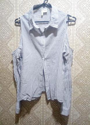 Тонкая рубашка с открытыми плечами и длинными рукавами