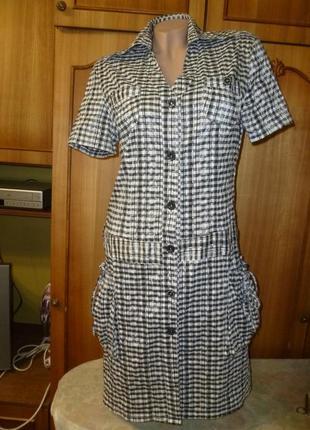 Красивое летнее повседневное платье-халат в клеточку,короткий рукав