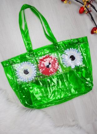 Прозрачная зелёная сумка шопер пляжная с герберами