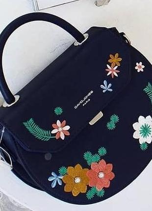 Полукруглый клатч, сумка через плечо david jones 5971-1 темно-синий5 фото