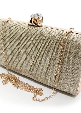 208bc1114765 Вечерний золотистый клатч бокс из парчи с блестками на цепочке маленькая  выпускная сумочка