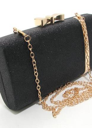 d9b5db644313 Черный клатч бокс с блестками вечерний выпускной на цепочке маленький
