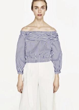 Блуза полоска с актуальным рукавом zara