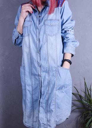 Платье миди, джинсовое платье, платье с вишивкой, голубое платье рубашка