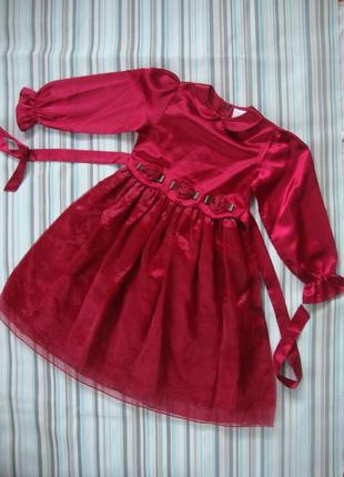 Платье нарядное вечернее с рукавами 8-10 лет