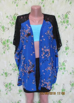 Красивая летняя накидка кимоно с гипюровыми вставками