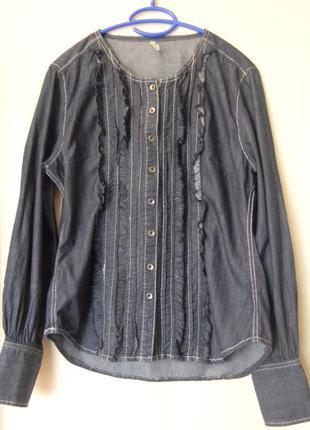 Джинсовая блузка тонкая claire group р.40,хлопок
