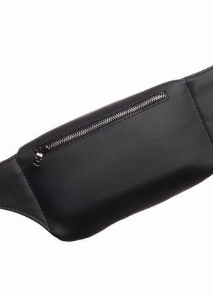 Чёрная мужская бананка/сумочка на пояс, плече с экокожи2 фото