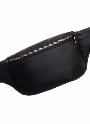 Чёрная мужская бананка/сумочка на пояс, плече с экокожи1 фото