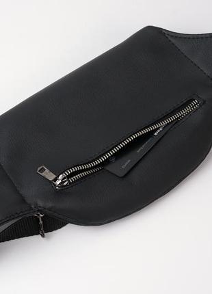 Чёрная мужская бананка/сумочка на пояс, плече с экокожи3 фото