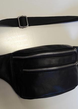 Чёрная мужская банака, сумка на пояс/плече с кожи с двойным замком