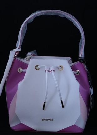 Сумка мешок, итальянского бренда cromia. в бело-сиреневом цвете.