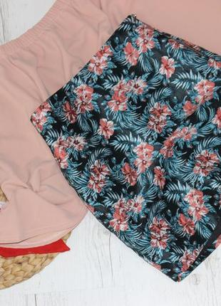 Юбка трапеция в цветы с подкладкой