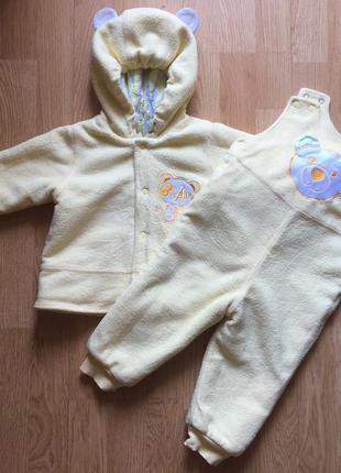 Демисезонный костюм на синтепоне, куртка и комбинезон для ребенка бемби, размер 74