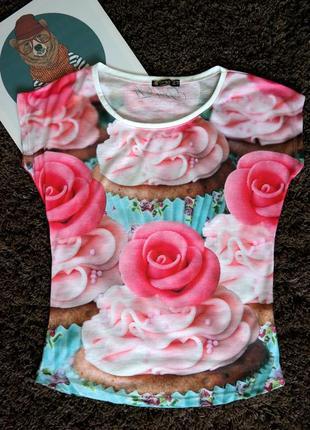 Женская футболка с принтом кекс , турция 36-38 рр свободный фасон