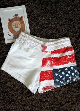 Женсике шорты хлопок , белые , флаг usa .