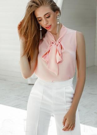 Трендовая шифоновая блуза без рукавов с бантом asos