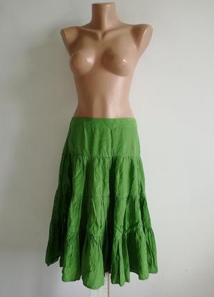 👑шелковая ярусная юбка миди изумрудного оттенка 👑 расклешенная юбка с воланами 👑